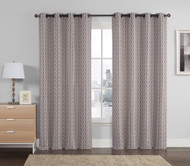 "Jacquard Window Curtain Panel: Chocolate, Taupe, Silver, Geometrical Design, Grommets, 55"" x 90"""