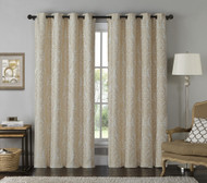 "Jacquard Window Curtain Panel: Damask Print, Gold and Linen, 54"" x 84"""