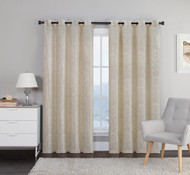 "Crushed Jacquard Window Curtain Panel: Natural Linen, Gold, Arabesque Design, 54"" x 84"""