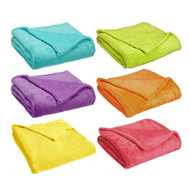 "Coral Plush Blanket Fleece Throw: Soft, 50"" x 60"", Bright Collection, Non Piling"