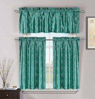 Teal 3 Pc Kitchen Window Curtain Set: Faux Silk, Metallic Raised Pin Dots Fish Scale Design