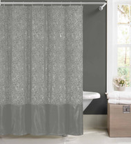 Silver Faux Silk Fabric Shower Curtain w/ 12 Rollerball Hooks: Metallic Raised Pin Dots Abstract Floral Design