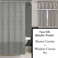 Silver Shower Curtain, 12 piece Rollerball Hooks,  and 3 Pc Window Curtain Set:  Metallic Raised Pin Dots Abstract Floral Design