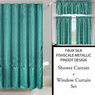 Teal Shower Curtain and 3 Pc Window Curtain Set:  Metallic Raised Pin Dots, Fish Scale Design