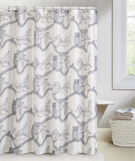 Navy and White Fabric Shower Curtain: Owl and Apple Tree Design