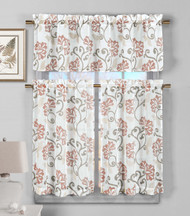 3 Piece Semi Sheer Window Curtain Set: Blush Floral Vine Deisgn, 2 Tiers, 1 Valance