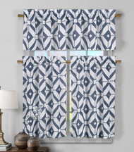 3 Piece Semi Sheer Window Curtain Set: Navy Blue and White Geometric Design, 2 Tiers, 1 Valance