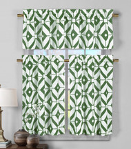 3 Piece Semi Sheer Window Curtain Set: Green and White Geometric Design, 2 Tiers, 1 Valance