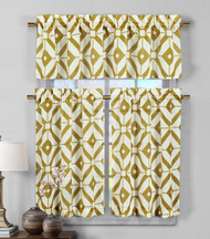 3 Piece Semi Sheer Window Curtain Set: Gold and White Geometric Design, 2 Tiers, 1 Valance