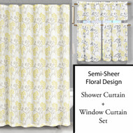Fabric Shower Curtain and Window Curtain Set: Floral Design, Yellow, Gray, Off-White