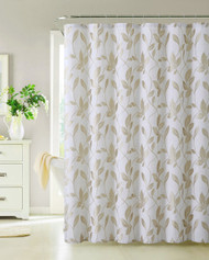 Fabric Shower Curtain, Taupe, Leaf Design