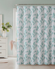 "Fabric Shower Curtain: Blue Leaf Design. 72"" x 72"""