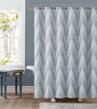 "Dobby Fabric Shower Curtain: Gray and Green Chevron Tile  Design, 72"" x 72"""