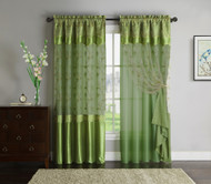 "Green Window Curtain Drapery Panel: Double-Layer, Solid Color Back with Embroidered Sheer Top and Valance, 55""x90"""