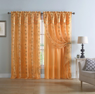 """Orange and Gold Double Layer Embroidered Window Curtain: Floral Design, Attached Valance,  55""""x90"""", One Panel"""