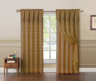 "Gold Double Layer Embroidered Window Curtain: Floral Design, Attached Valance,  55""x90"", One Panel"