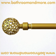 Gold Decorative Curtain Rod: Globe Finials | BathroomAndMore