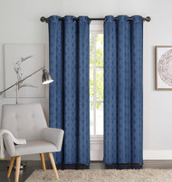 "Two (2) Blue Window Curtain Panels: Geometric Design, 76"" x 84"", Grommets"