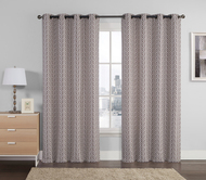 "Set of Two (2) Jacquard Window Curtain Panels: Chocolate, Taupe, Silver, Geometrical Design, Grommets, 110"" x 90"""