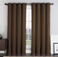 "Two (2) Brown Crushed Jacquard Window Curtain Panels: Stripe Design, Grommets, 108""W x 84""L"