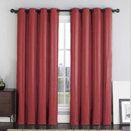 "Two (2) Burgundy Crushed Jacquard Window Curtain Panels: Stripe Design, Grommets, 108""W x 84""L"