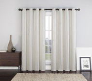"Two (2) Ivory Crushed Jacquard Window Curtain Panels: Stripe Design, Grommets, 108""W x 84""L"