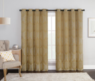 "Gold Single Jacquard Grommet Window Curtain Panel: Floral Medallion Design, 54""W x 84""L"