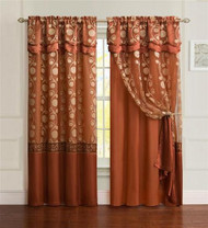 "One Piece Cinnamon Window Curtain Panel: Attached Valance and Backing, Floral Design,  55""x90"""