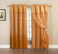 """One Piece Orange Window Curtain Panel: Attached Valance and Backing, Floral Design,  55""""x90"""""""