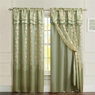 "One Piece Sage Green Window Curtain Panel: Attached Valance and Backing, Floral Design,  55""x90"""