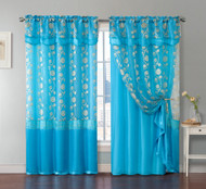 "One Piece Blue Window Curtain Panel: Attached Valance and Backing, Floral Design,  55""x90"""