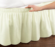 Ivory Elastic Ruffled Bed Skirt: Wrap Around Easy Fit, Twin or Full Size