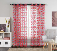 "One (1) Red Leaves Clipped Sheer Grommet Window Curtain Panel: 55""W x 90""L"