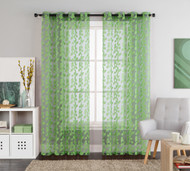 "One (1) Green Leaves Clipped Sheer Grommet Window Curtain Panel: 55""W x 90""L"