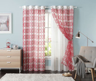 "Set of Two (2) Off-White Grommet Window Curtain Panels: Red Trellis Design, Double Layer, Flocked, 55""W x 90""L"