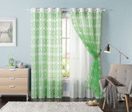 "Set of Two (2) Off-White Grommet Window Curtain Panels: Green Trellis Design, Double Layer, Flocked, 55""W x 90""L"
