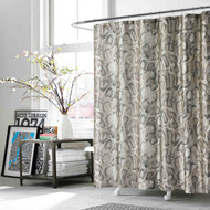 "Taupe and Brown Fabric Shower Curtain: Snake/Reptile Print, 70""W x 72""L"