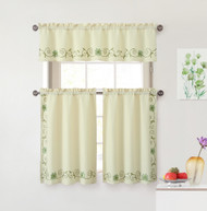 Beige 3 Piece Kitchen Window Curtain Set: Linen Weave Texture with Green Floral Embroided Design, 1 Valance and 2 Tiers