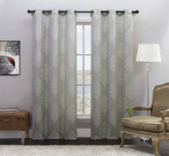 """Set of Two (2) Silver Jacquard Window Curtain Panels: Grommets, Off-White Medallion Design, 76""""W x 84""""L"""