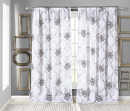 """White Textured Sheer Window Curtain Panel: Black Medallion and Gray Leaf Design, 54""""W x 84""""L"""