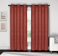 "Brick Red and Silver Metallic Grommet Window Curtain Panel Pair: Cotton Blend, 76""W x 84""L"