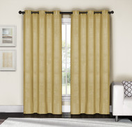 "Gold and Silver Metallic Grommet Window Curtain Panel Pair: Cotton Blend, 76""W x 84""L"