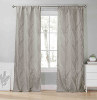 """Set of Two (2) Gray Window Curtain Panel Pair: Metallic Silver Leaf Design, Extra Long 78""""W x 96""""L"""