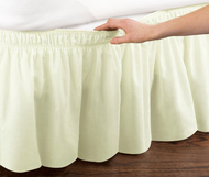 Ivory Elastic Ruffled Bed Skirt: Wrap Around Easy Fit, Queen or King Size