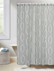 "Gray Linen Textured Sheer Fabric Shower Curtain: White Geometric Design, 70""W x 72""L"