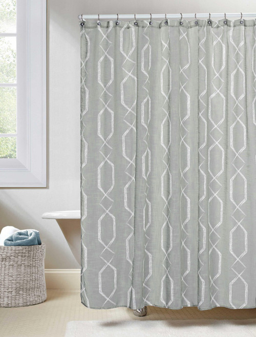 Gray linen textured sheer fabric shower curtain white for Gray curtains texture