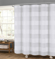 "White Fabric Shower Curtain: Wide Stripe Design, 70"" x 72"""