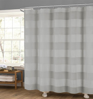 "Light Gray Fabric Shower Curtain: Wide Stripe Design, 70"" x 72"""
