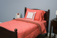 Dark Coral and Rose Wine 5 Piece Dorm Twin XL Reversible Bed In A Bag with Comforter, Flat Sheet, Fitted Sheet and 2 Pillowcases