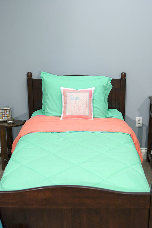 seafoam green and orange peach 5 piece dorm twin xl reversible bed in a bag with